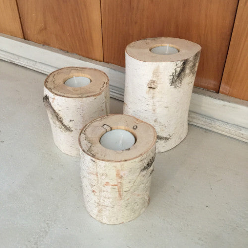 Birch Log Candle Holders