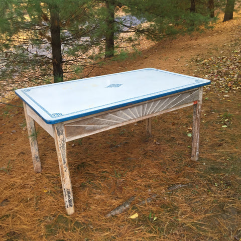 Vintage Enamel Top Farmhouse Table