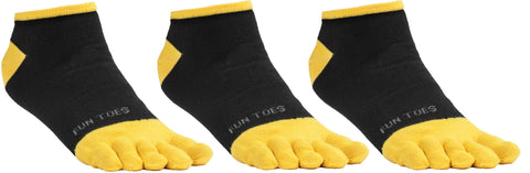 FUN TOES Men's Toe Socks Barefoot Running Socks Size 10-13 Shoe Size 6 - 12.5  Pack of 3 Pairs Black/Yellow