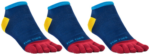 FUN TOES Men's Toe Socks Barefoot Running Socks Size 10-13 Shoe Size 6 - 12.5  Pack of 3 Pairs   Fun Blue