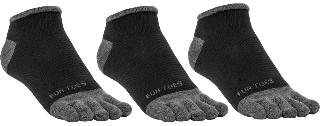 FUN TOES Men's Toe Socks Barefoot Running Socks Size 10-13 Shoe Size 6 - 12.5  Pack of 3 Pairs  Black