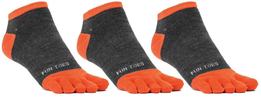 FUN TOES Men's Toe Socks Barefoot Running Socks Size 10-13 Shoe Size 6 - 12.5  Pack of 3 Pairs   Grey