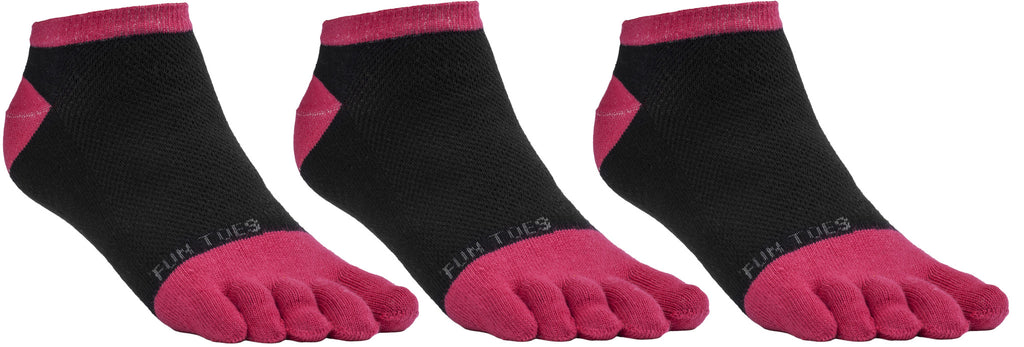 FUN TOES Women's Toe Socks Barefoot Running Socks Size 9-11 Shoe Size 4-10 Pack of 3 Pairs   Black/Coral