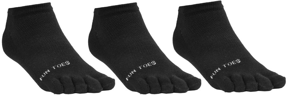FUN TOES Women's Toe Socks Barefoot Running Socks Size 9-11 Shoe Size 4-10 Pack of 3 Pairs   Black