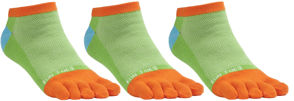 FUN TOES Women's Toe Socks Barefoot Running Socks Size 9-11 Shoe Size 4-10 Pack of 3 Pairs   FUN GREEN