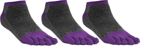 FUN TOES Women's Toe Socks Barefoot Running Socks Size 9-11 Shoe Size 4-10 Pack of 3 Pairs   Grey/Purple
