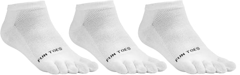 FUN TOES Women's Toe Socks Barefoot Running Socks Size 9-11 Shoe Size 4-10 Pack of 3 Pairs   White