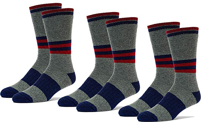 3 Pairs Children Mid Weight Patterned 70% Merino Wool Thermal Crew Socks Cushioned For Hiking Trailing and Everyday Use