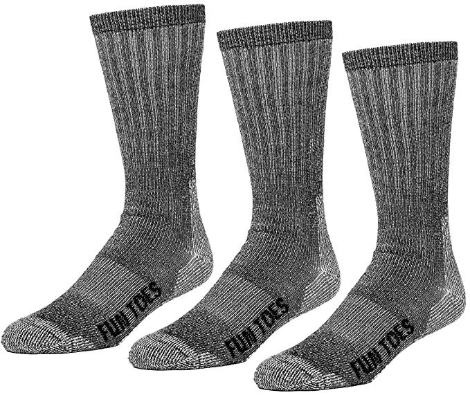 FUN TOES Men's 3 pairs Thermal Insulated 80% Merino Wool Socks -Hiking Trailing and Everyday Use