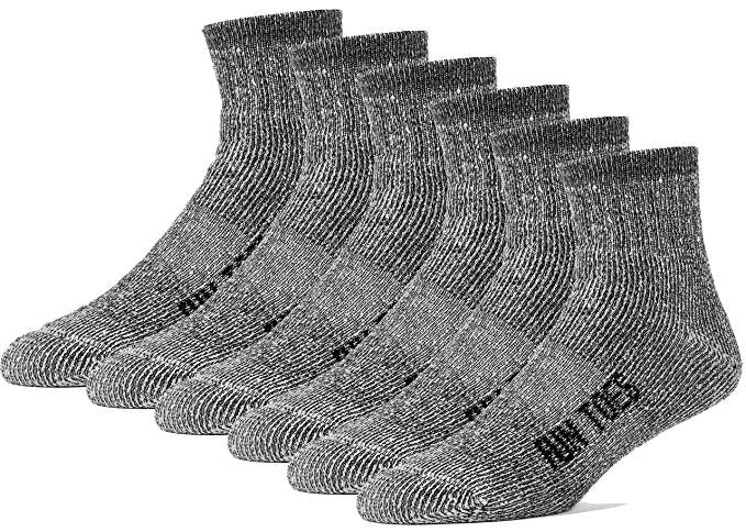 FUN TOES Merino Wool Ankle Socks Pack of 6 Arch Support and Cushioning Heel to Toe Reinforcement Ideal for Hiking Trekking or Every Day Use