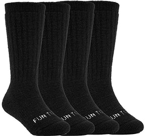 FUN TOES Boys Or Girls Heavy 60% Merino Wool Thermal Solid Color Socks 4 Pairs