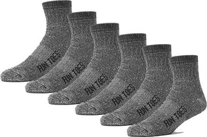 6 Pack Men's 80% Merino Wool Ankle Socks Strong Arch Support -Cushioned Bottom- Ideal for Hiking Trekking or everyday use