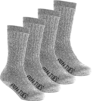 FUN TOES Kids 70% Midweight Merino Wool Crew Socks Arch Support Fully Cushioned  4 Pairs Pack