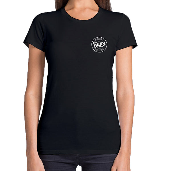 SUUS Womens Collingwood Small Logo T Shirt Black - SUUS