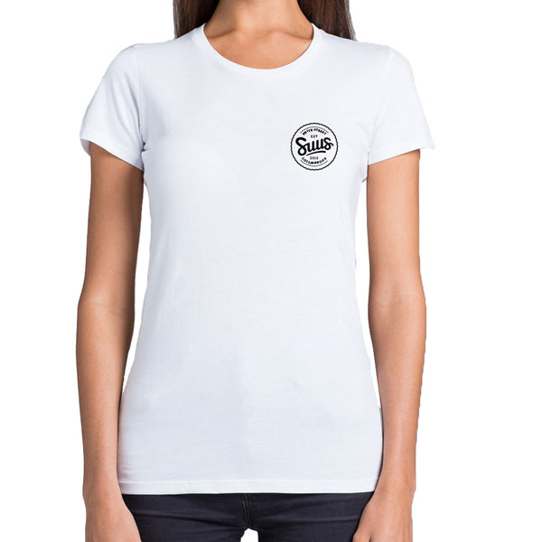 SUUS Womens Collingwood Small Logo T Shirt White - SUUS