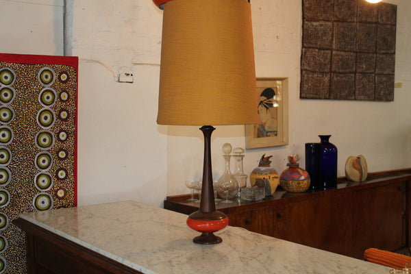 50s Ceramic/wood lamp
