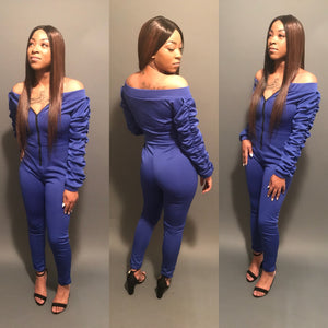 Blueberry Fitted Ruffle Sleeve Jumpsuit