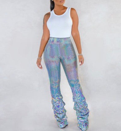 Best Life Sequin Pants- Silver