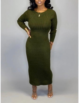 Tricia Sweater Dress- Olive