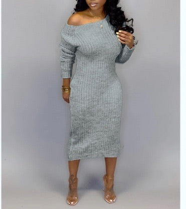 Tricia Sweater Dress- Gray