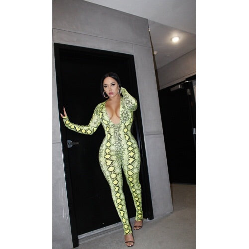 Put a Date on It Snakeprint Jumpsuit- Green