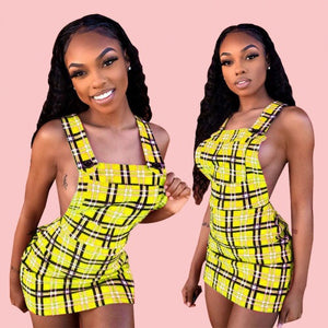 Bumblebee Plaid Suspender Dress