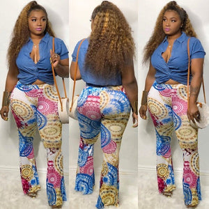 Cake Fitted Pants- Blue