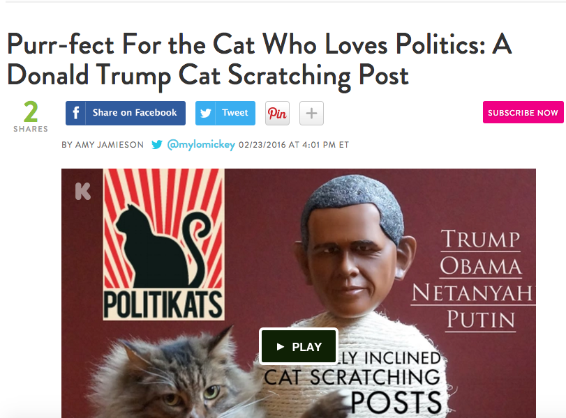 Purr-fect For the Cat Who Loves Politics: A Donald Trump Cat Scratching Post