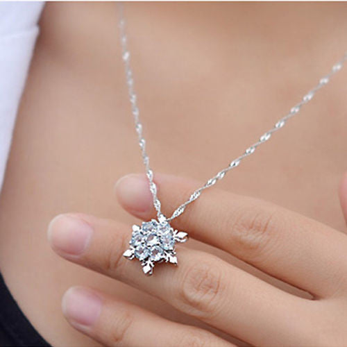 Charm Vintage lady Blue Crystal Snowflake Frozen Flower Silver Necklace Pendant - Barbaracute - 2