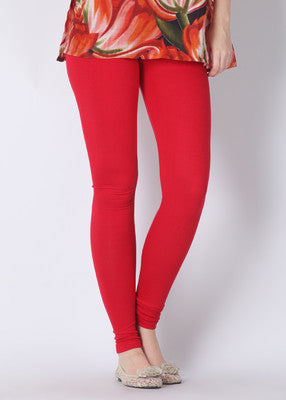Red Cotton Lycra Stretchable Churidar Leggings - Barbaracute