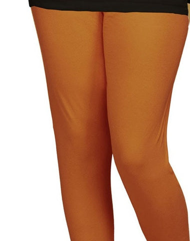 Brown Cotton Lycra Stretchable Churidar Leggings - Barbaracute