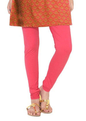 Dark Peach Cotton Lycra Stretchable Churidar Leggings - Barbaracute