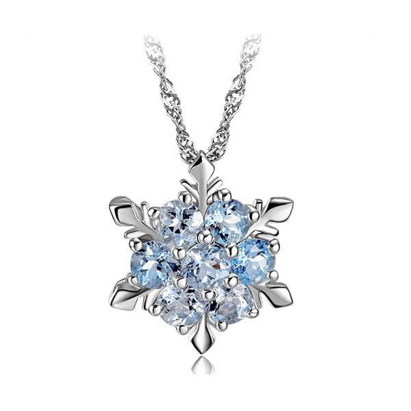 Charm Vintage lady Blue Crystal Snowflake Frozen Flower Silver Necklace Pendant - Barbaracute - 3