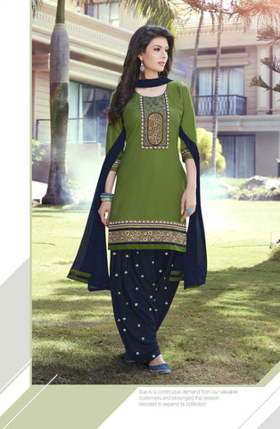 Satin Cotton Readymade Designer Salwar Kameez with matching Dupatta (Grass Green) - Barbaracute