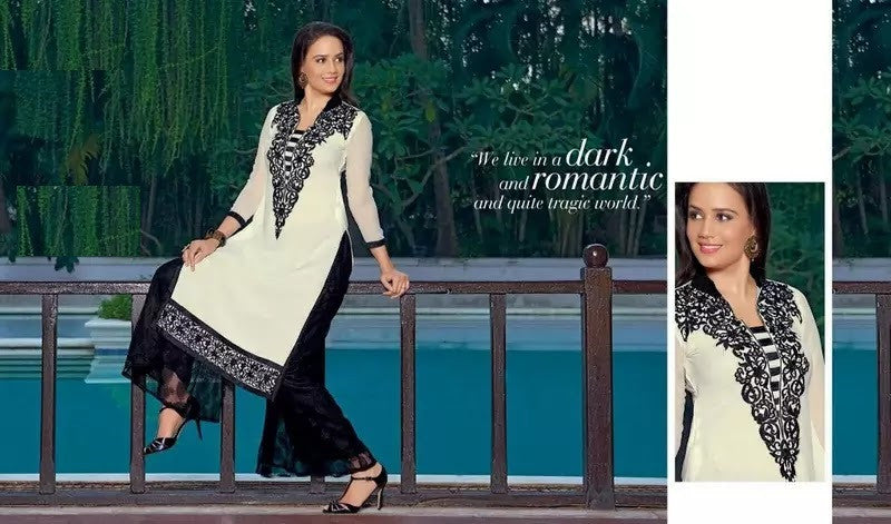 Off White with Thread Embroidery Rich Designer Readymade Georgette Kurti - Barbaracute