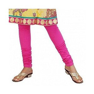 Deep Pink Cotton Lycra Stretchable Churidar Leggings - Barbaracute