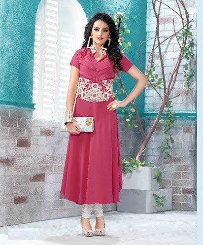 Lady Pink Readymade Georgette Kurti - Barbaracute