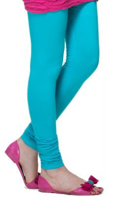 Traffic Blue Cotton Lycra Stretchable Churidar Leggings - Barbaracute
