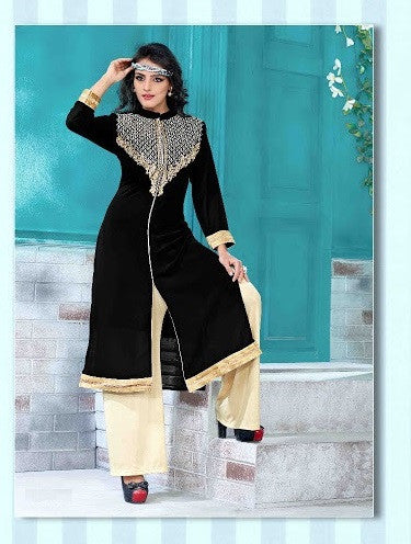 Black & Beige Readymade Georgette Kurti - Barbaracute