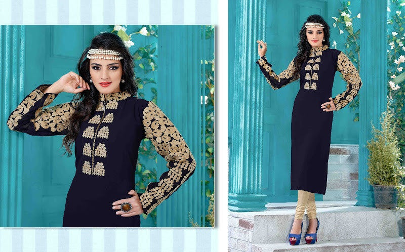 Blue & Beige Readymade Georgette Kurti - Barbaracute