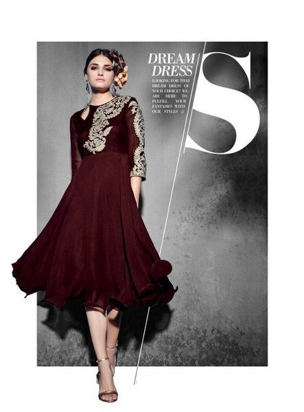 Coffee color Designer Readymade Georgette Kurti - Barbaracute