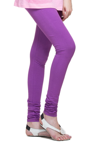 Purple Cotton Lycra Stretchable Churidar Leggings - Barbaracute