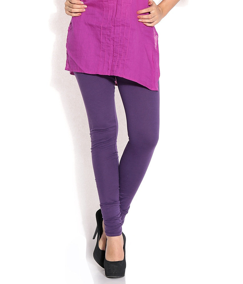 Violet Cotton Lycra Stretchable Churidar Leggings - Barbaracute