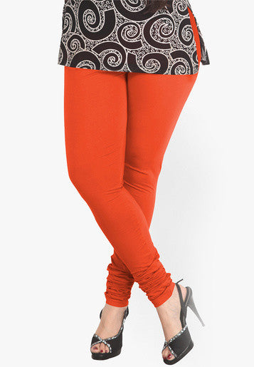Orange Red Cotton Lycra Stretchable Churidar Leggings - Barbaracute