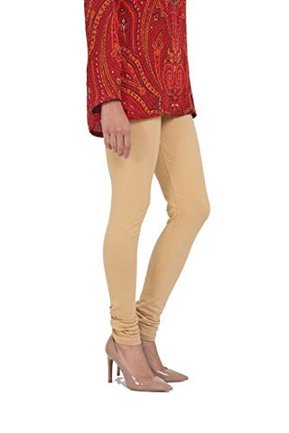 Beige Cotton Lycra Stretchable Churidar Leggings - Barbaracute