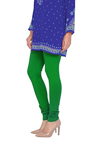 Green Cotton Lycra Stretchable Churidar Leggings - Barbaracute