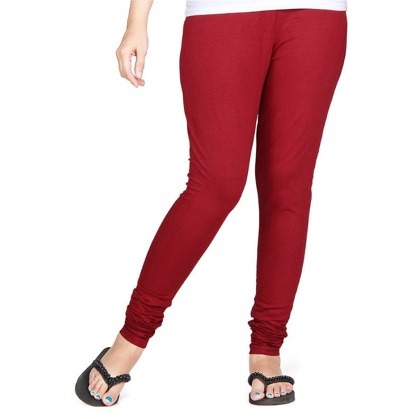 Maroon Cotton Lycra Stretchable Churidar Leggings - Barbaracute
