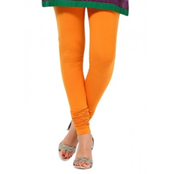 Orange Cotton Lycra Stretchable Churidar Leggings - Barbaracute