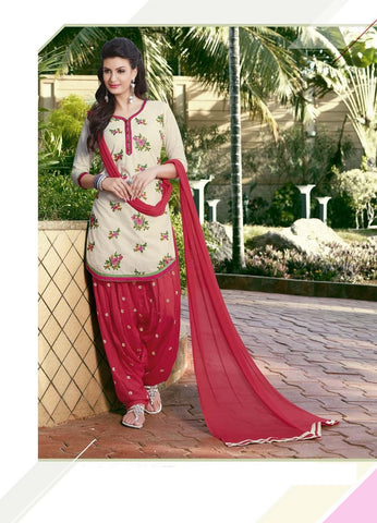 Satin Cotton Readymade Designer Salwar Kameez with matching Dupatta (Cream & Red) - Barbaracute