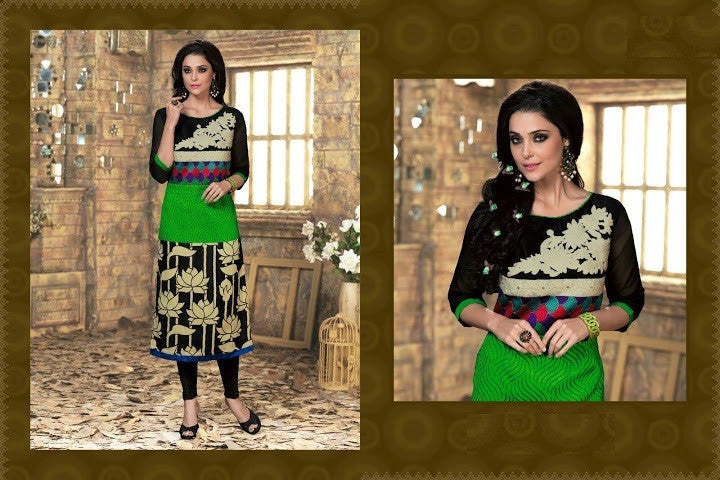 Black & Green Readymade Silk Kurti - Barbaracute